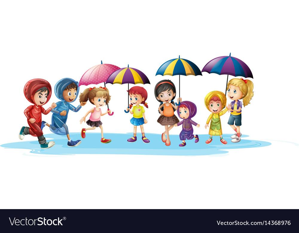Kids in raincoats and umbrella vector image