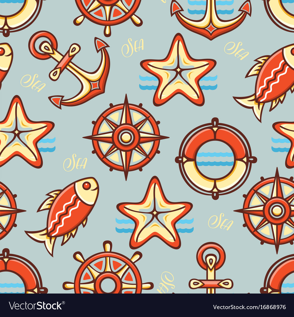 Marine pattern seamless vector image