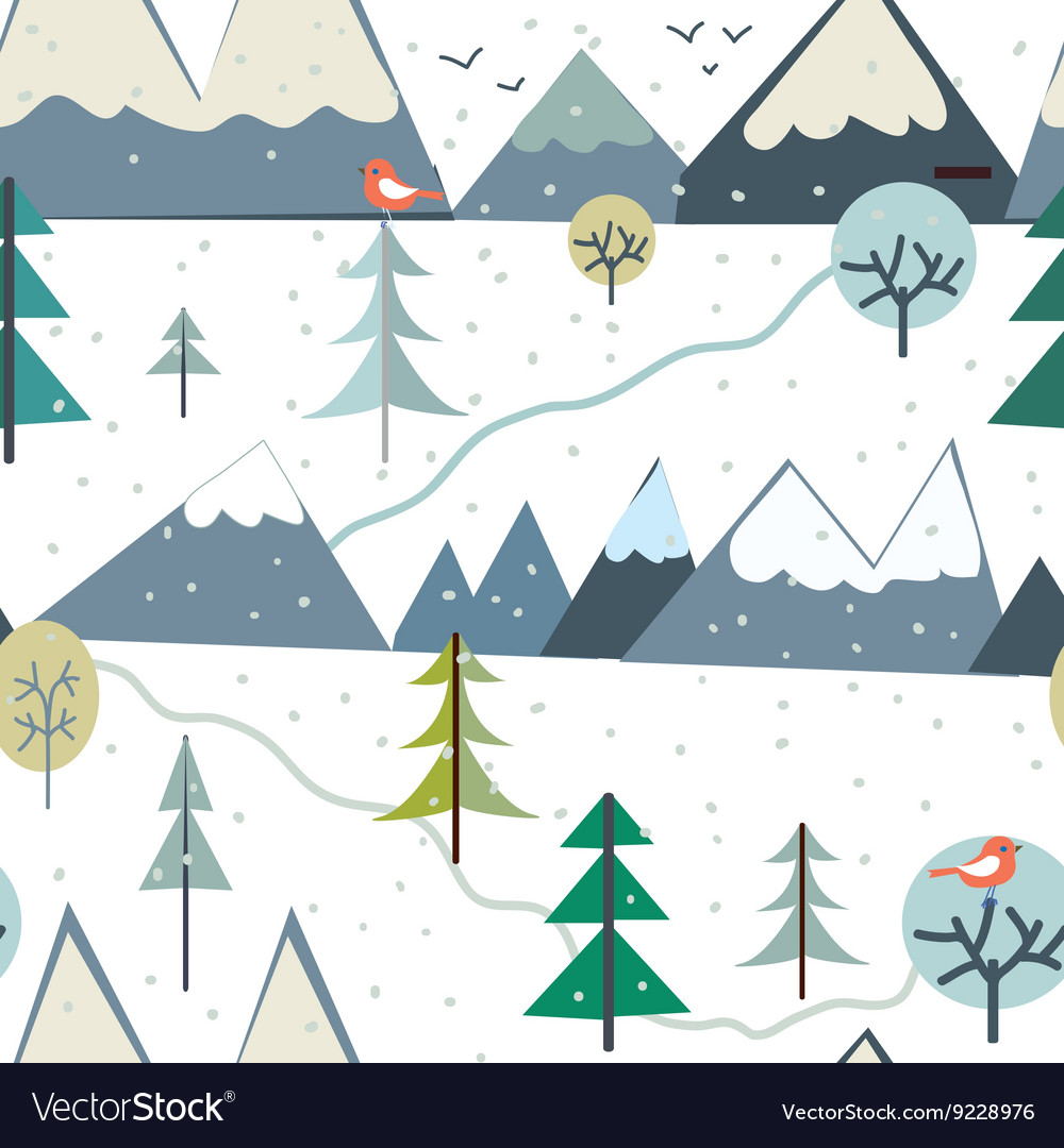 Mountains at winter season seamless pattern