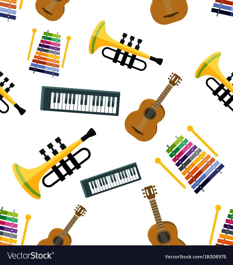 Music seamless pattern vector image