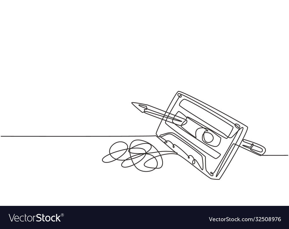One Single Line Drawing Tangled Analog Royalty Free Vector