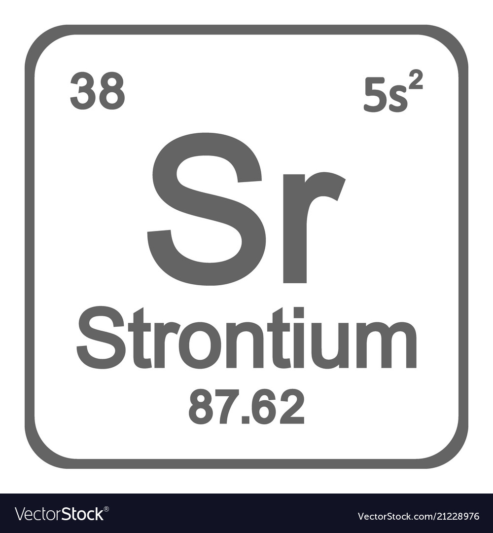 Periodic Table Element Strontium Icon Royalty Free Vector