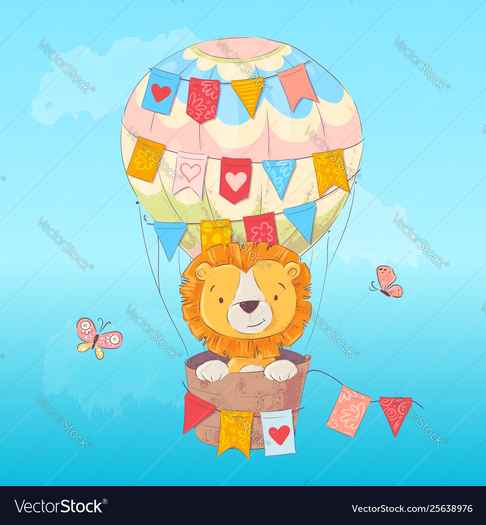 Postcard poster a cute leon in a balloon with