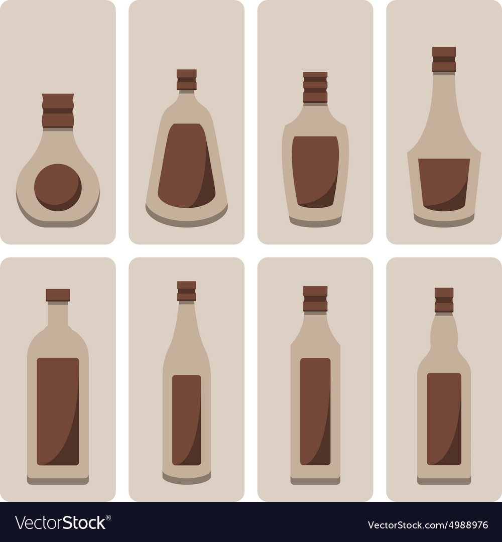 Set of alcohol bottle vector image