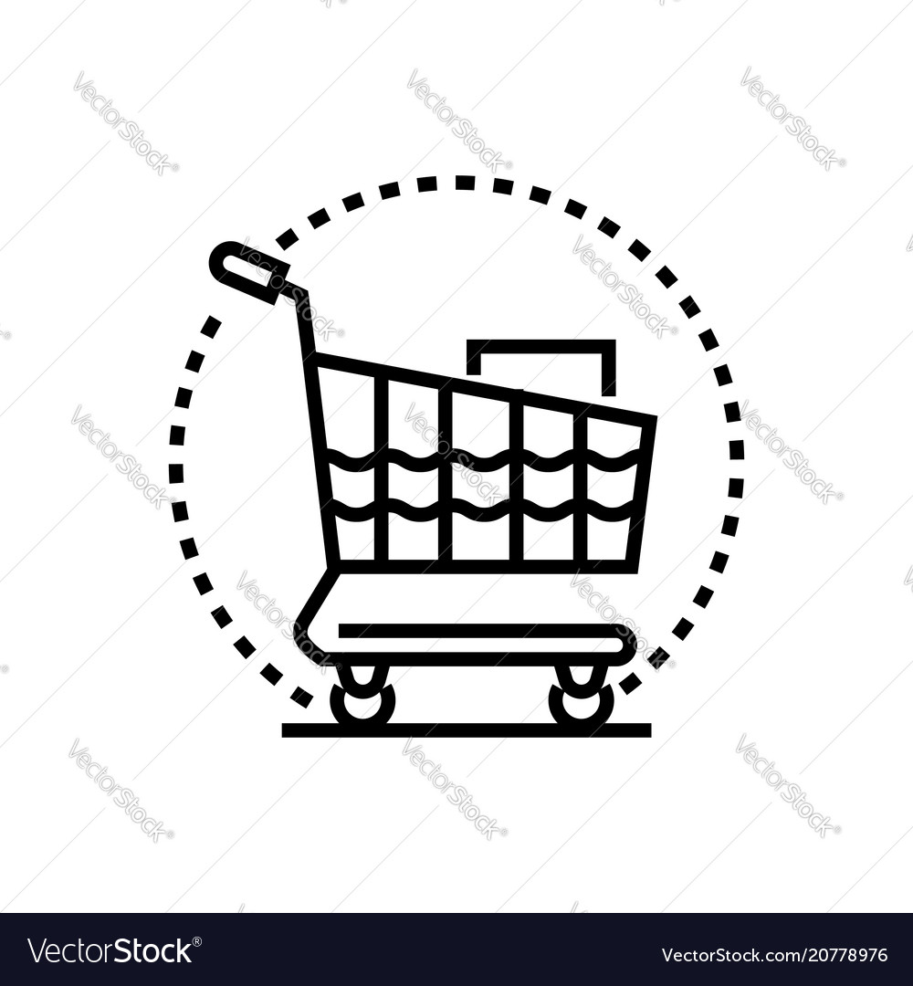 Shopping trolley - line design single isolated