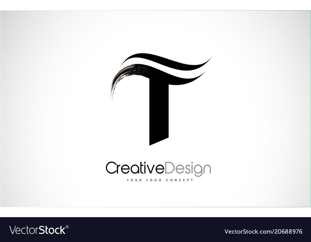 T Letter Design Brush Paint Stroke Vector Image