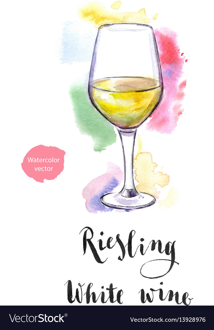 Wineglass of white wine riesling