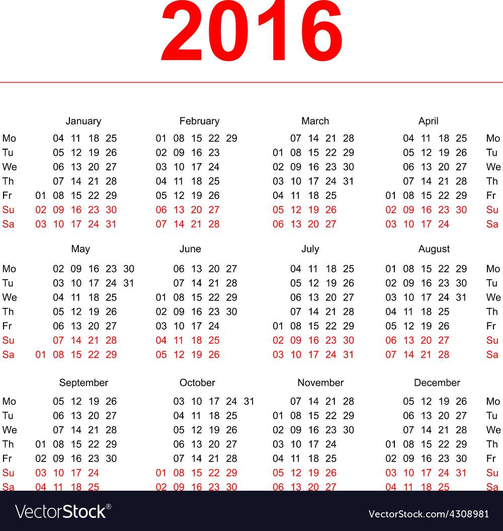 2016 calendar template vertical weeks first day vector image