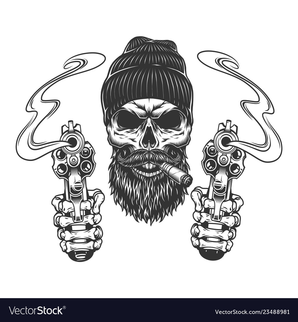 Bearded And Mustached Gangster Skull Royalty Free Vector