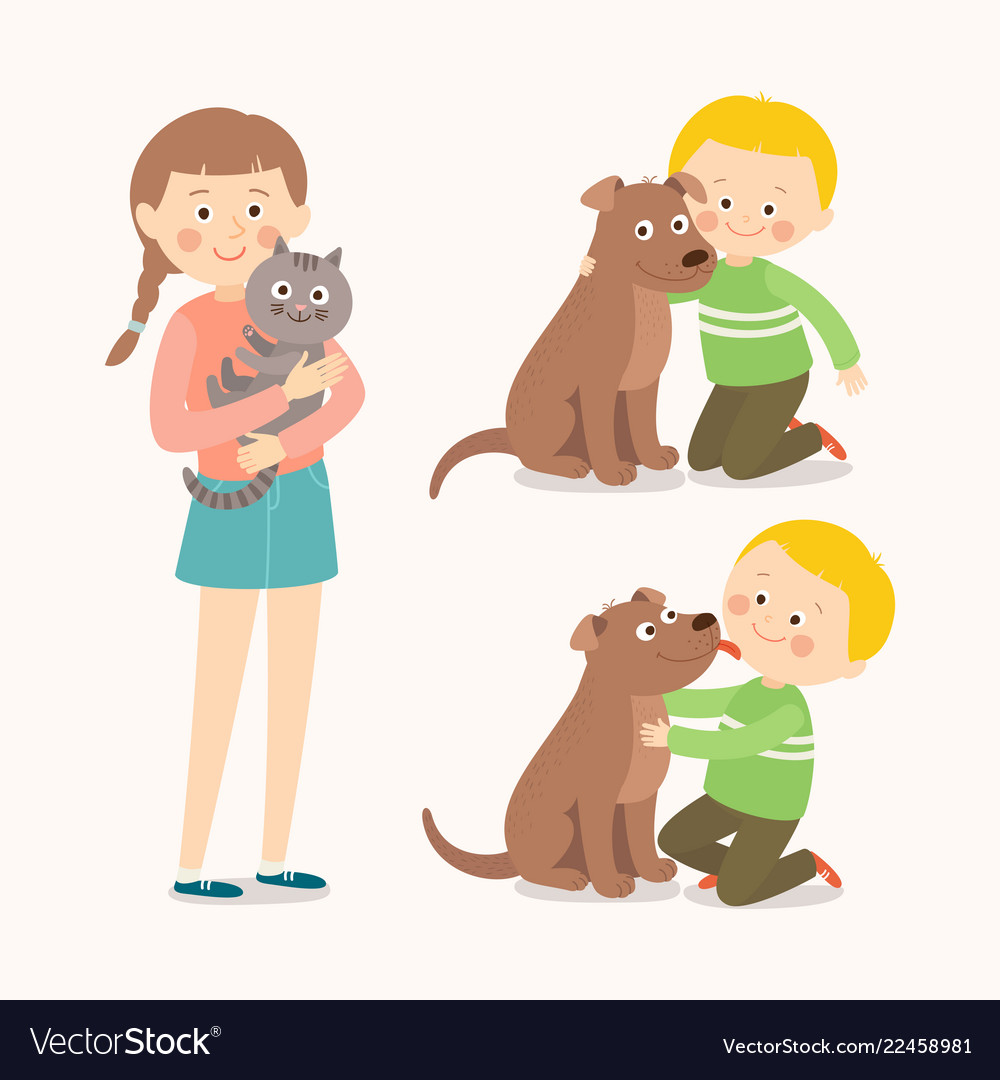 Children and pets child lovingly embraces his pet