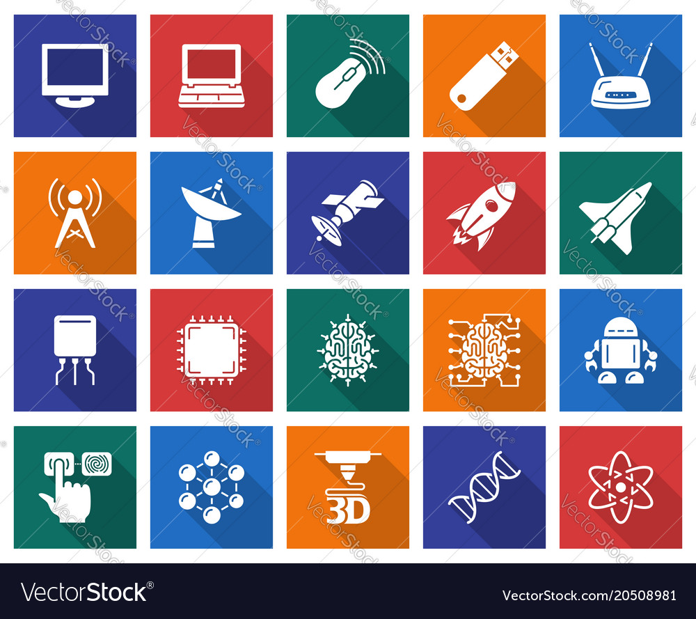 Collection of square icons high technology