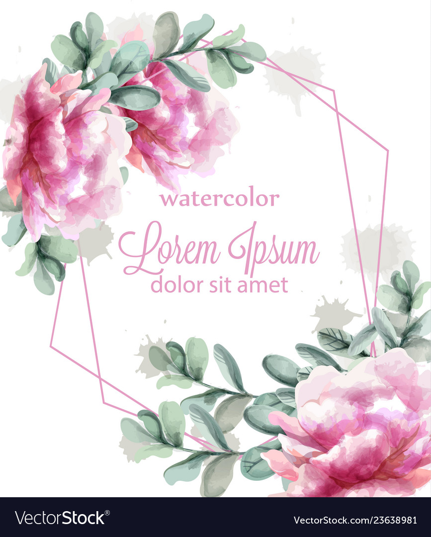 Colorful peony flowers frame watercolor banner