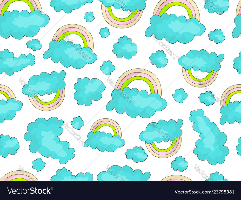 Cute rainbow seamless pattern with colorful