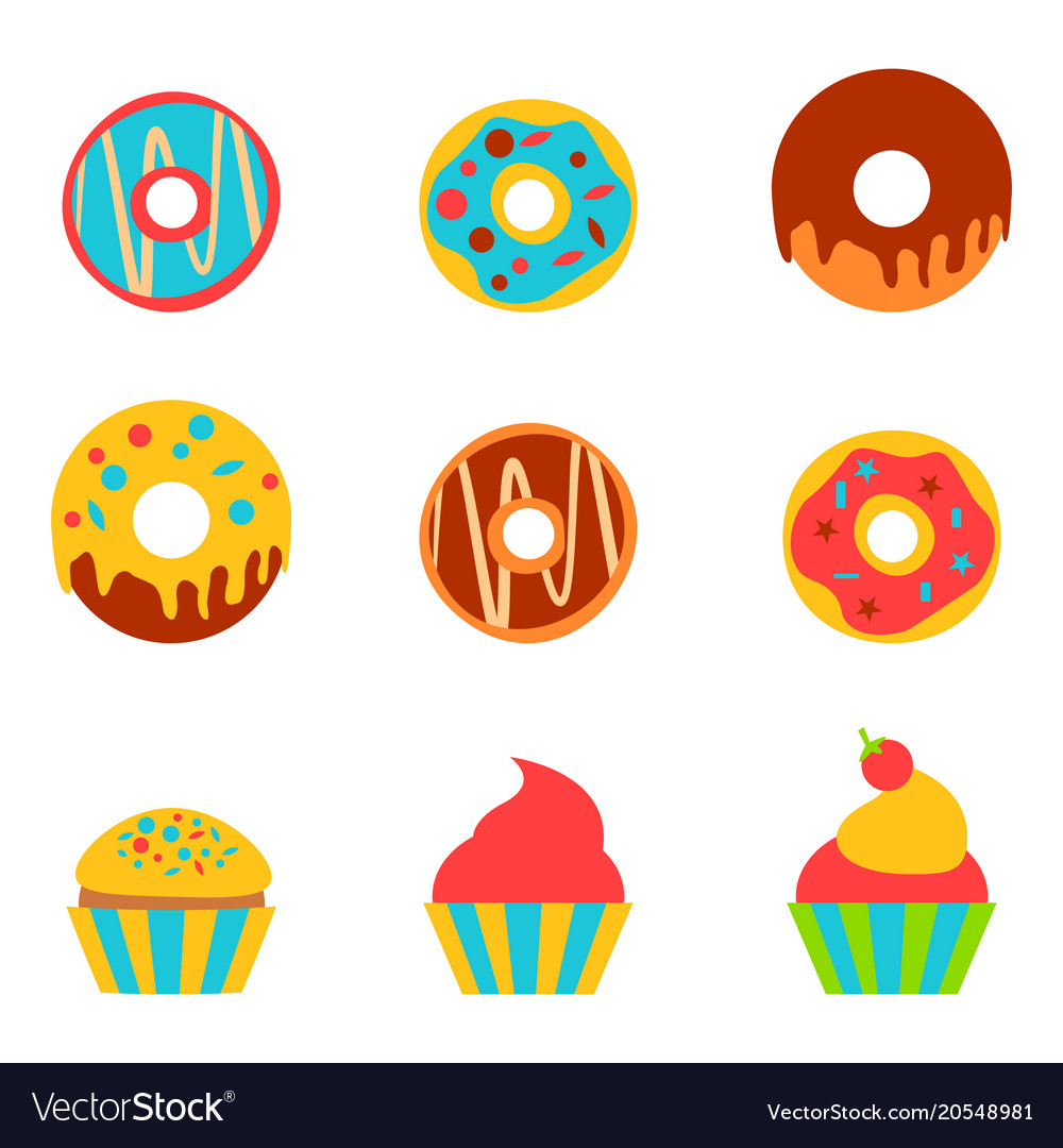 Doughnut and cake in a flat style