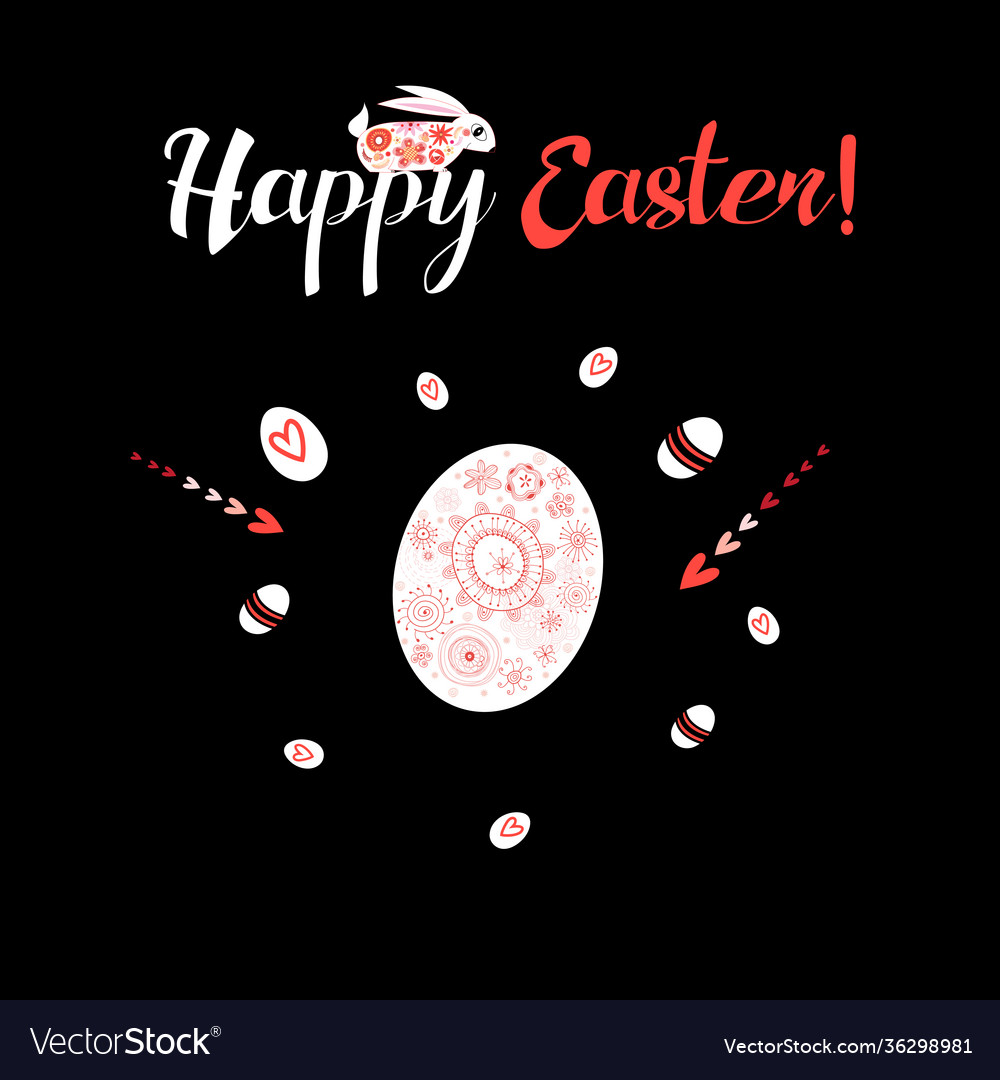 Greeting card with ornamental eggs and hares for