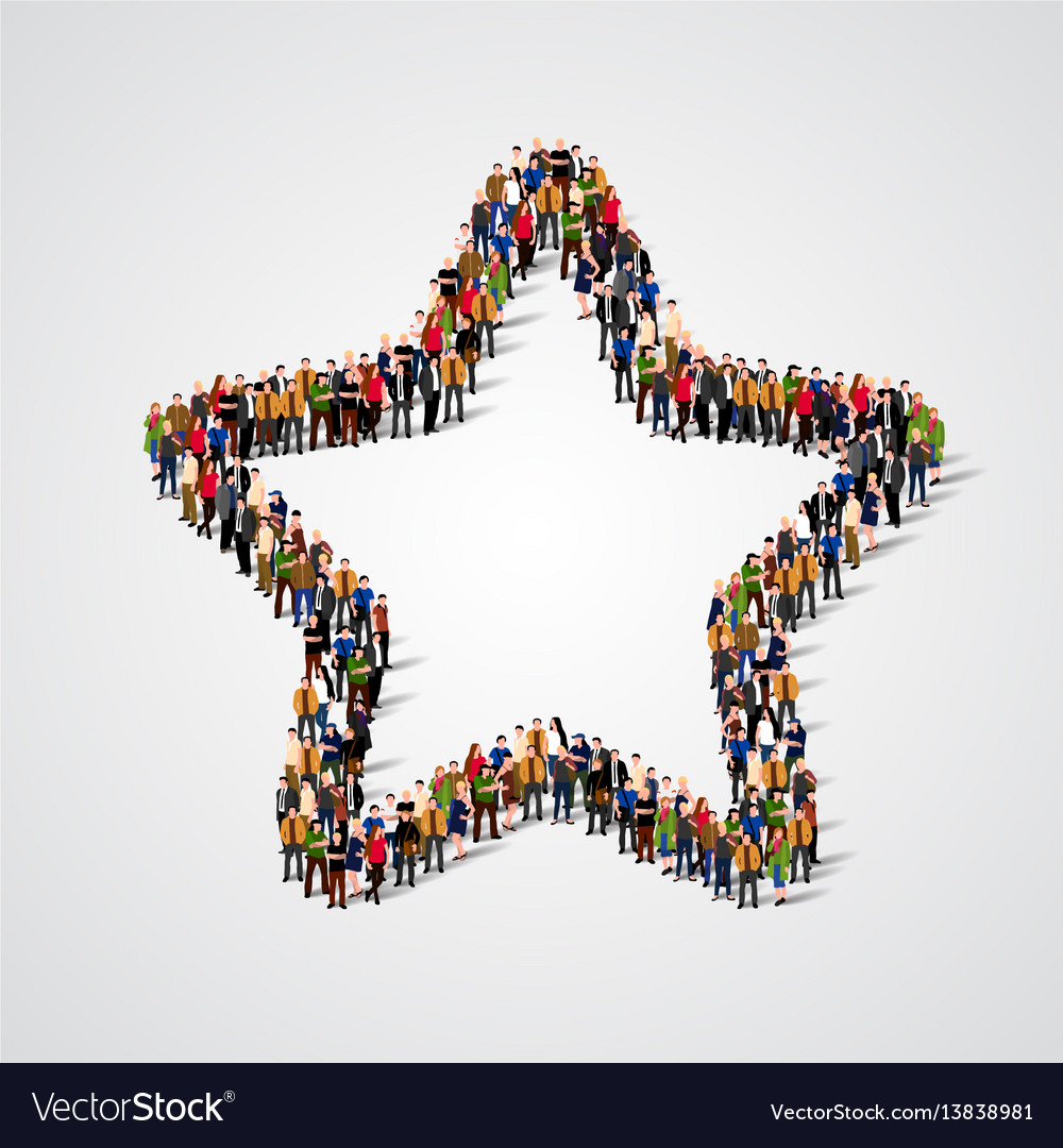 group of people in the star sign shape royalty free vector