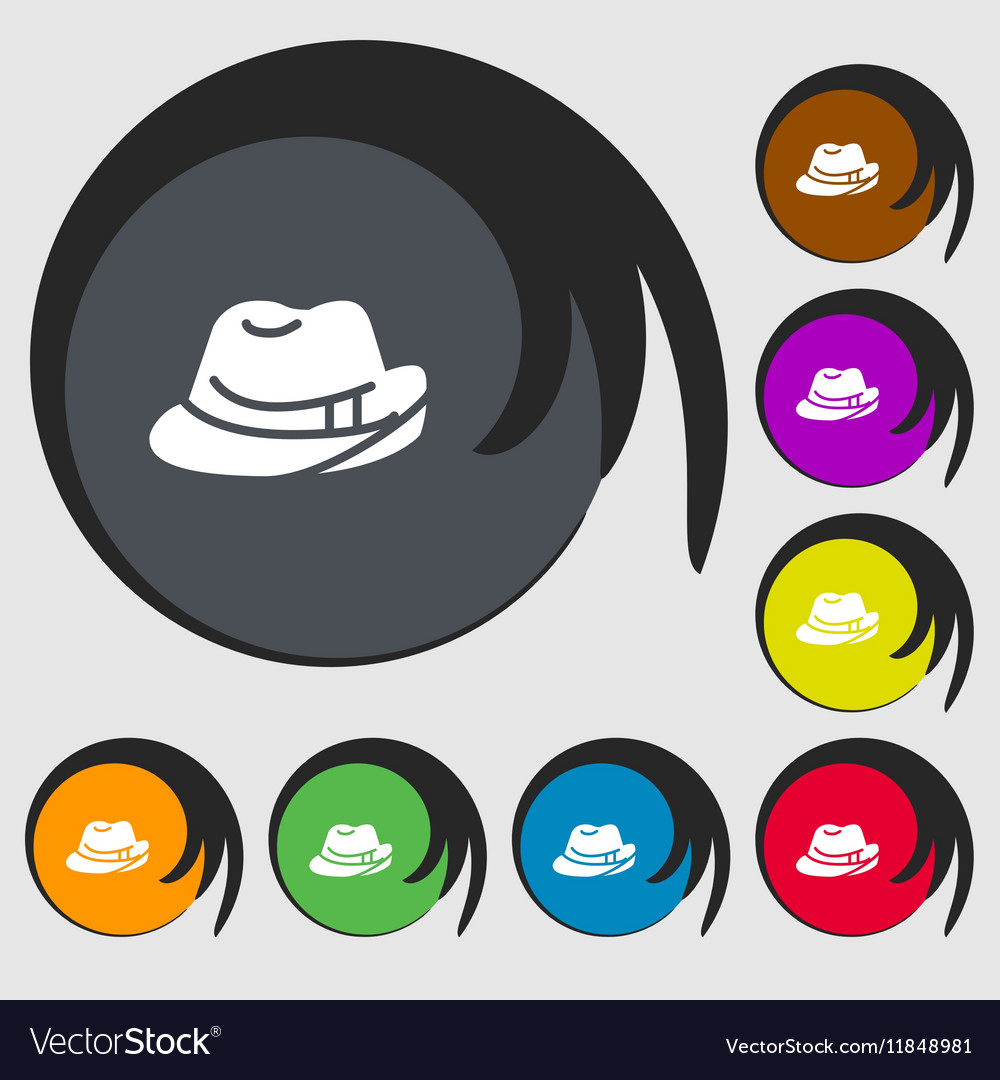 Hat icon sign Symbols on eight colored buttons