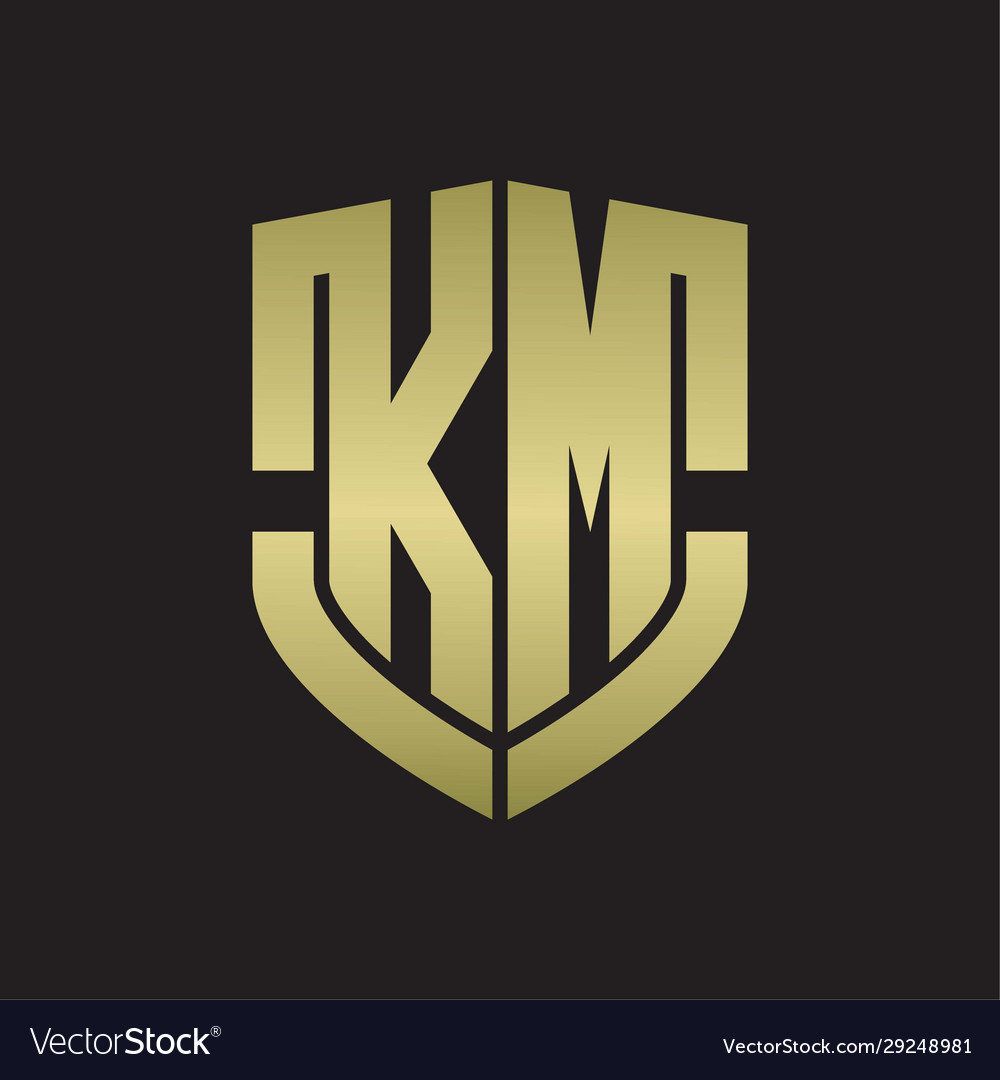 Km Logo Monogram With Emblem Shield Shape Design Vector Image