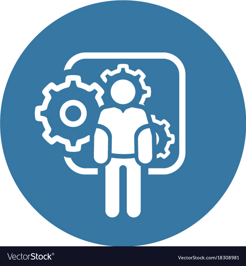 mechanical engineering icon man and gears vector image