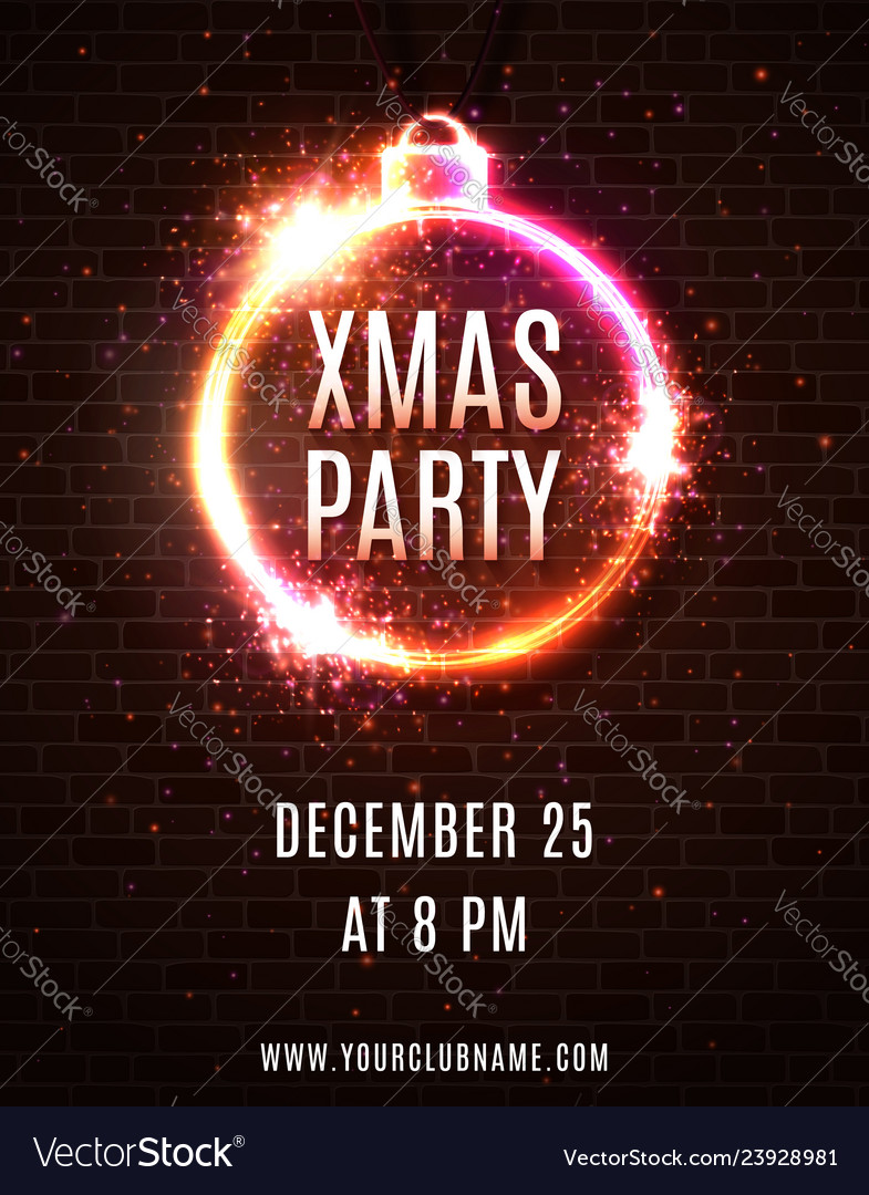 Neon light xmas party poster template