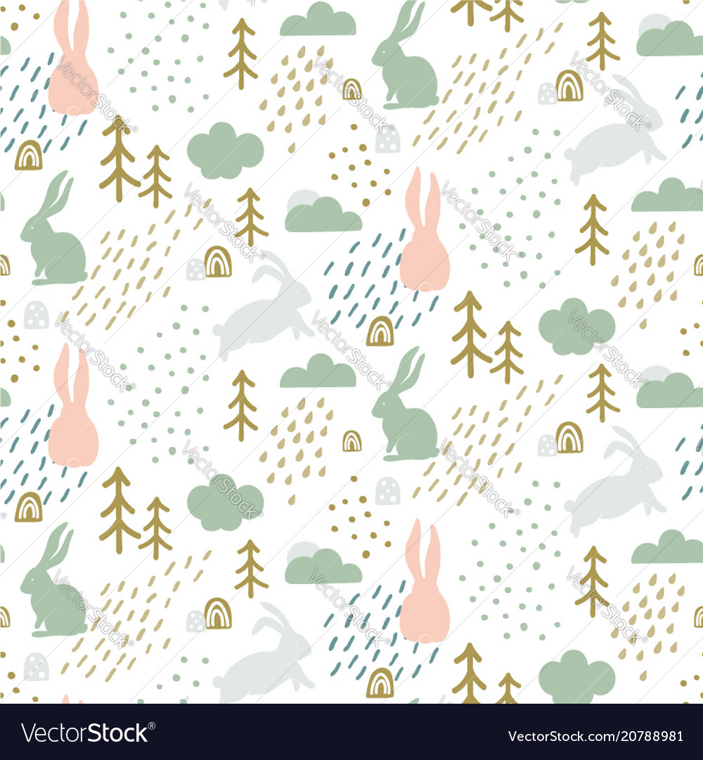 Seamless childish pattern with cute bunny