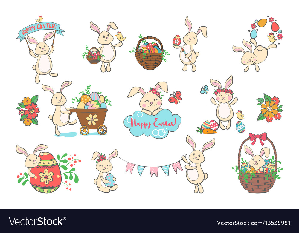 Set of cute easter bunnies