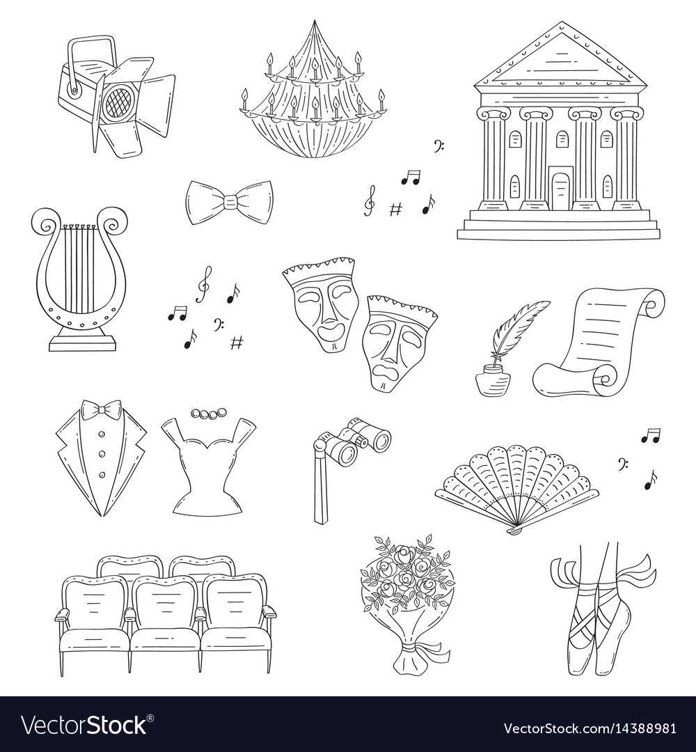 Set of theater icons hand drawn doodle