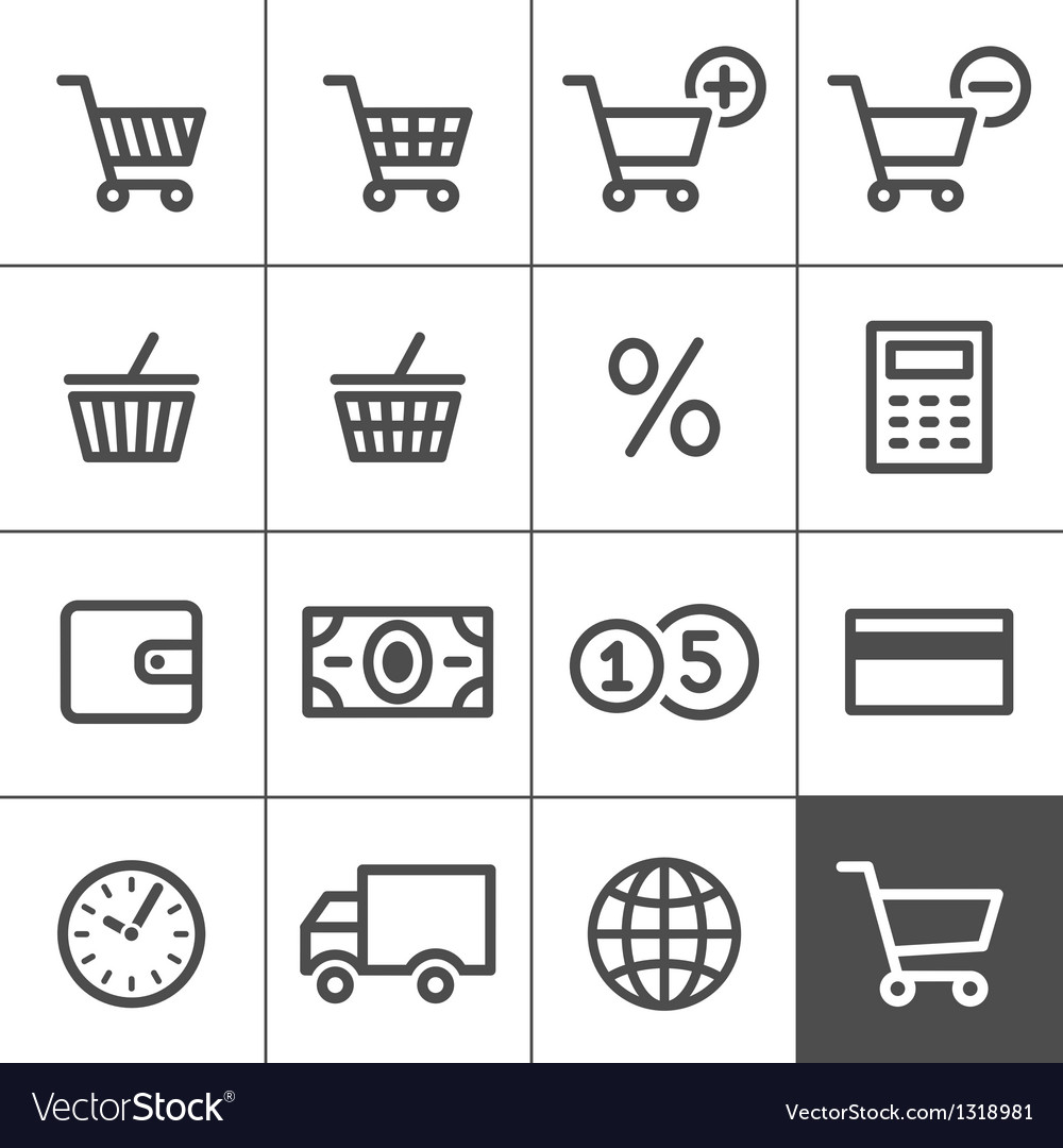 Shopping icons set - Simplines series