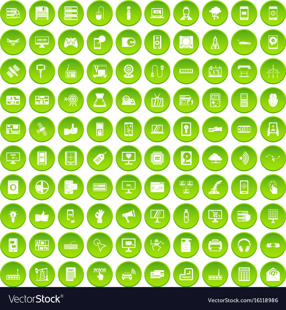 100 technology icons set green vector image