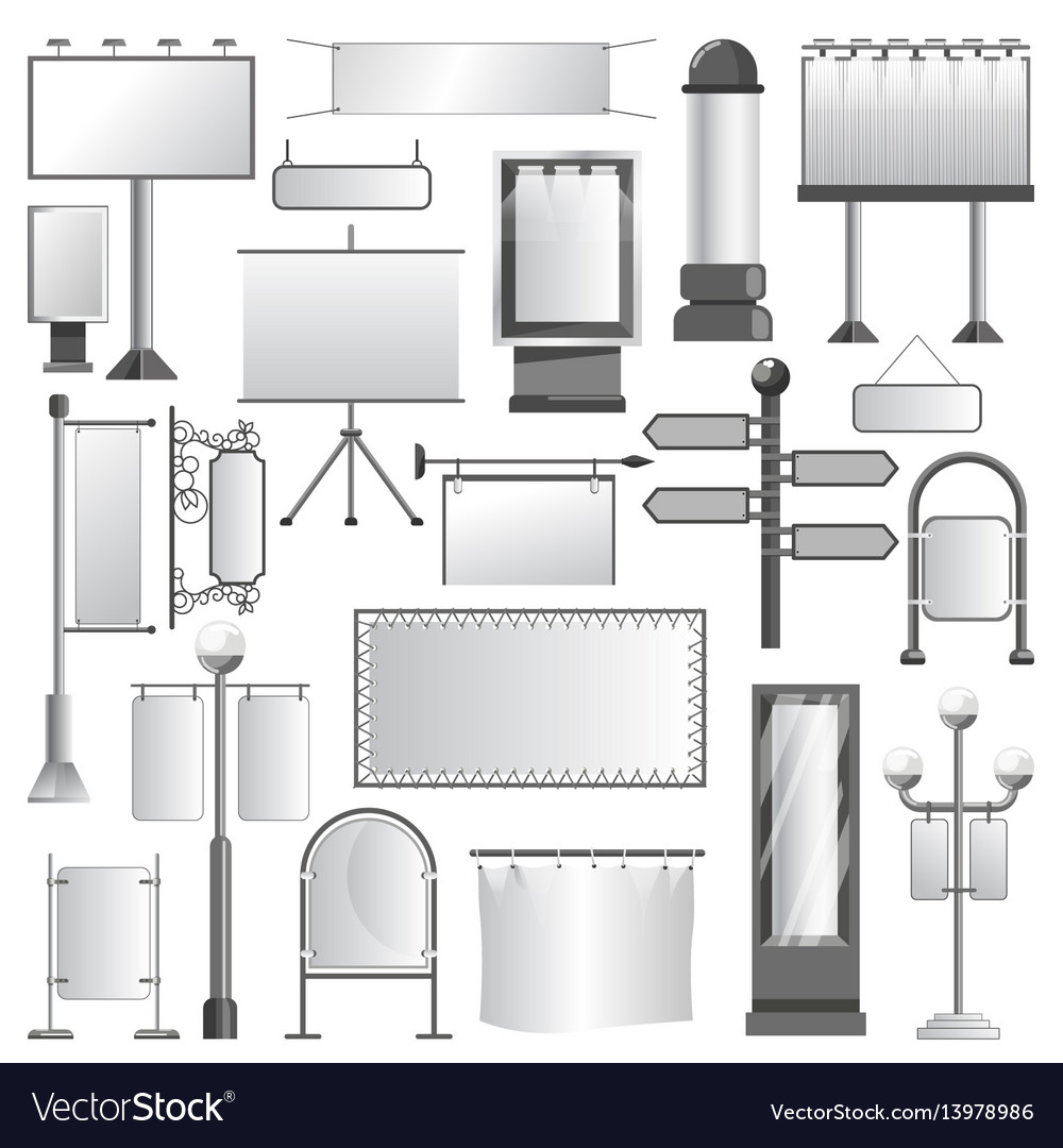 Advertising media constructions and spaces vector image