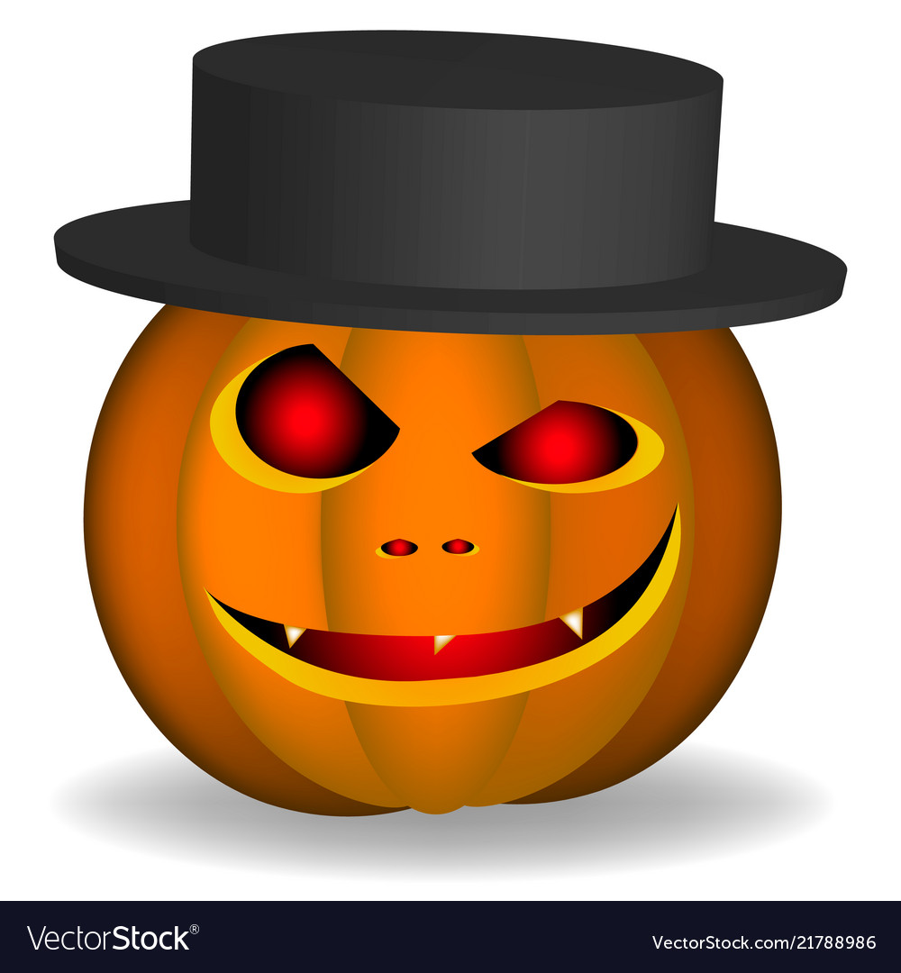 An evil pumpkin with a hat on a white background