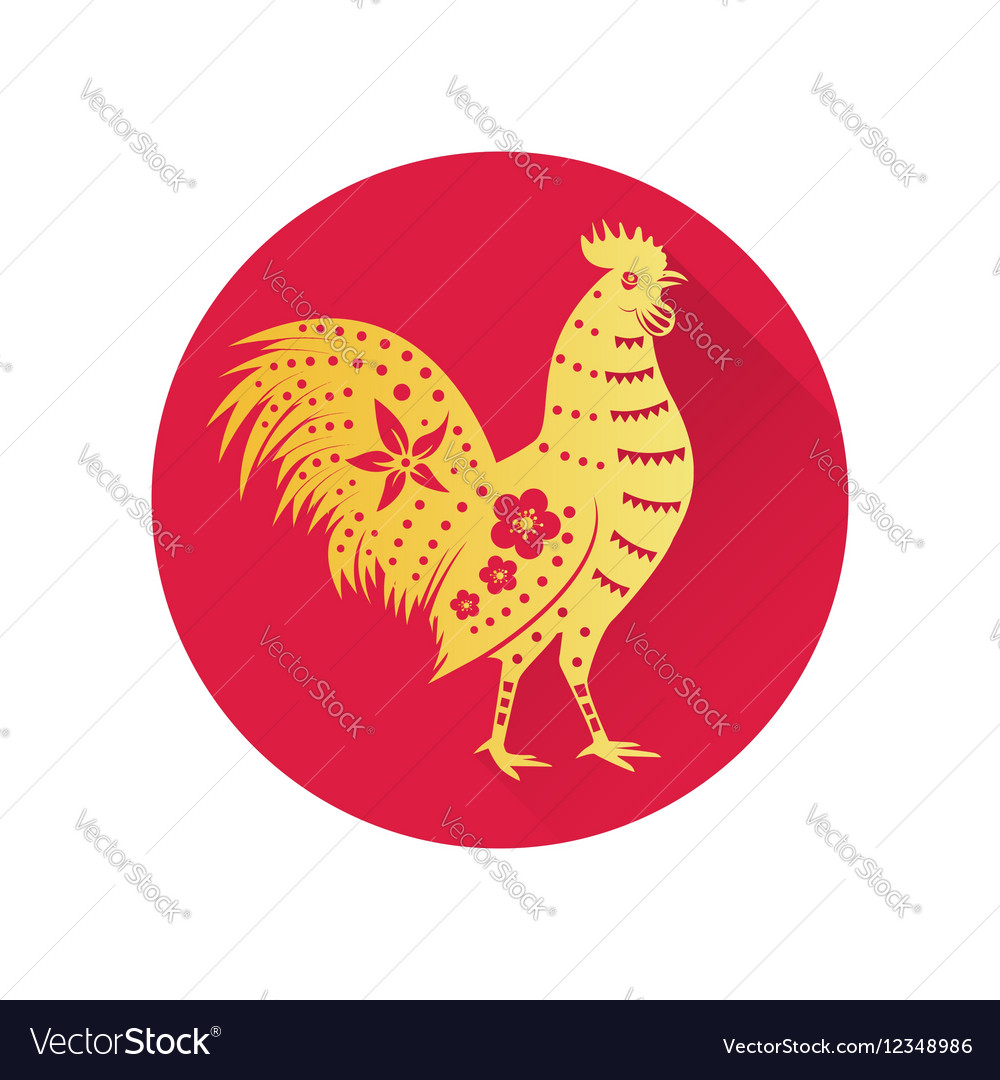 Chinese gold rooster flat icon