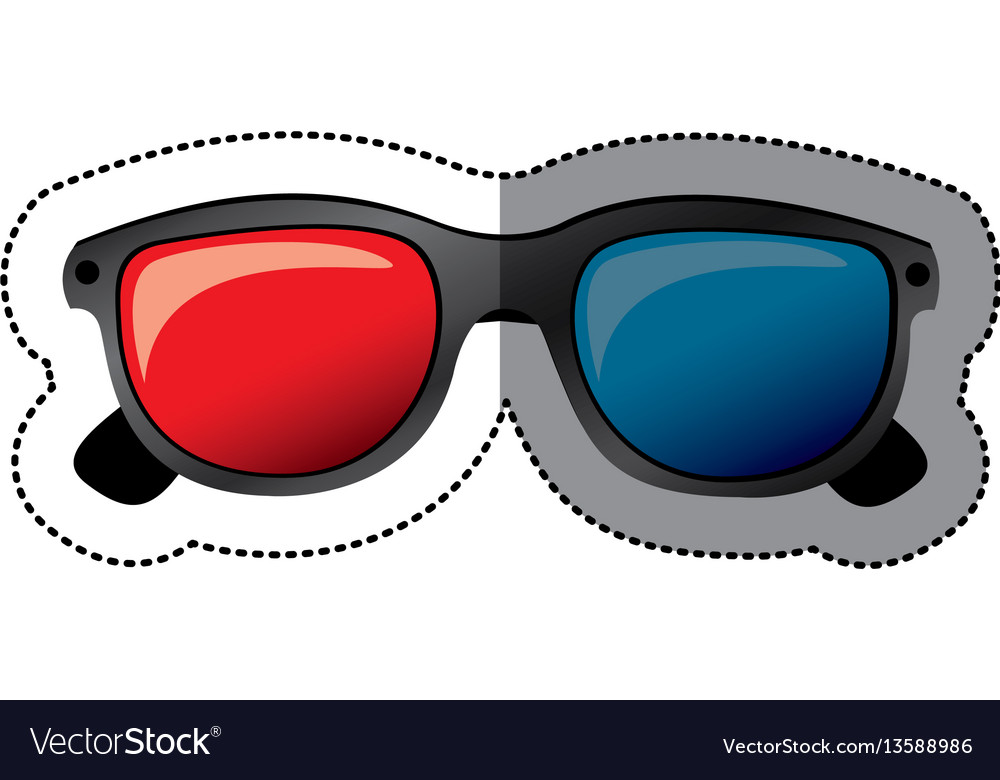 Colorful sticker of 3d cinema glasses