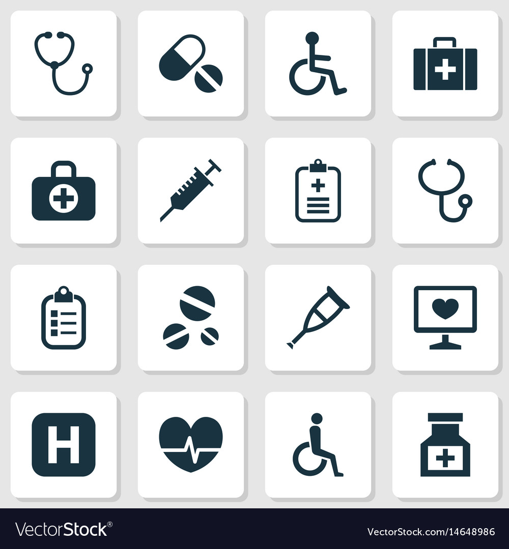 Drug icons set collection of chest handicapped
