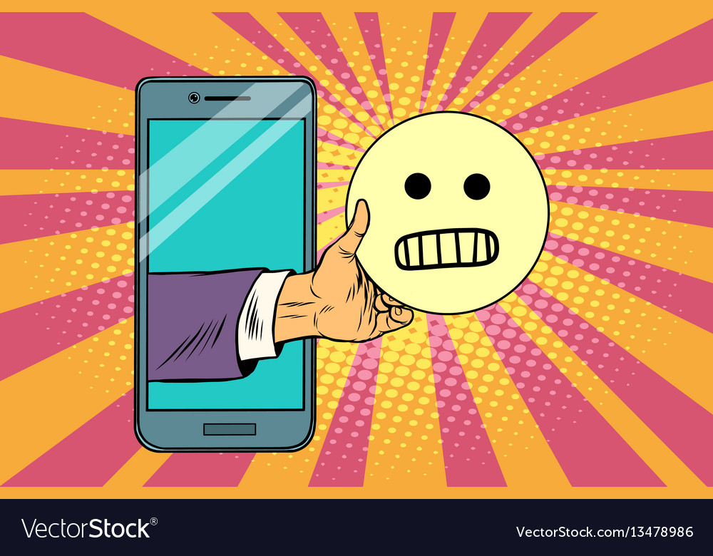Evil smile emoji emoticons in smartphone vector image