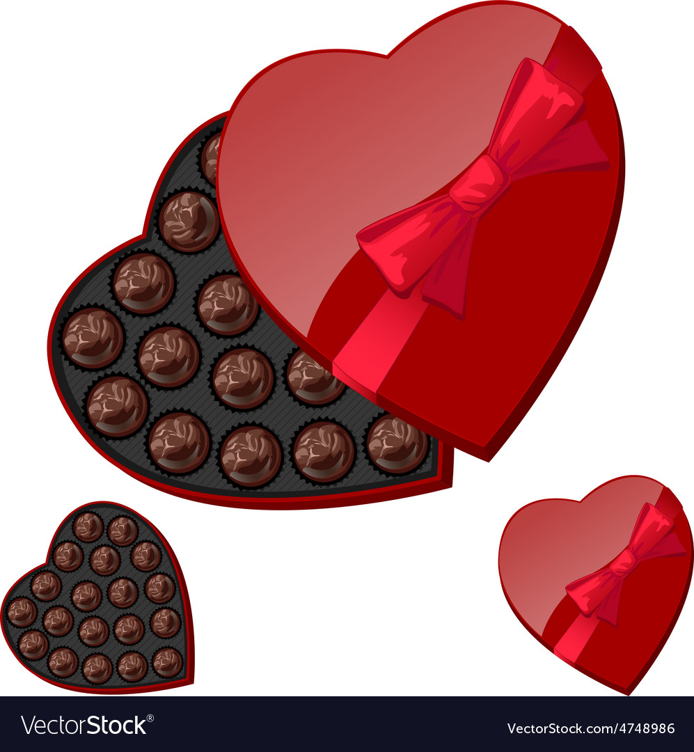 Heart Shaped Box With Chocolates Royalty Free Vector Image