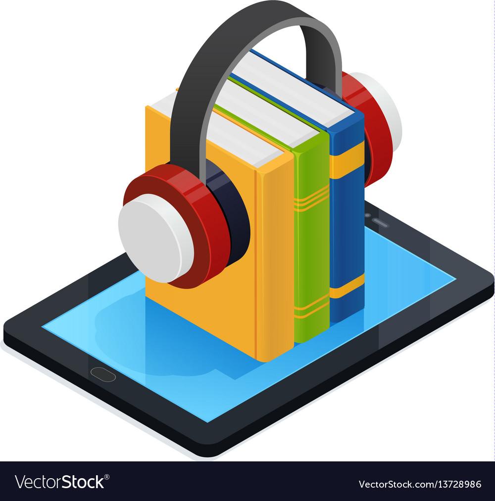 Online audio books isometric design