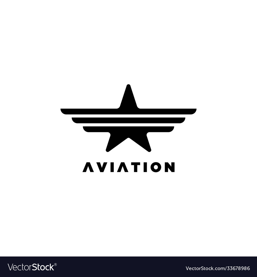 Star with wings symbolaviation logo