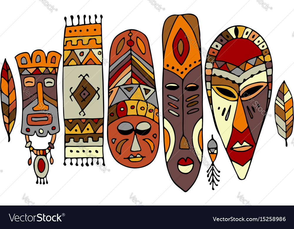 Tribal mask ethnic set sketch for your design