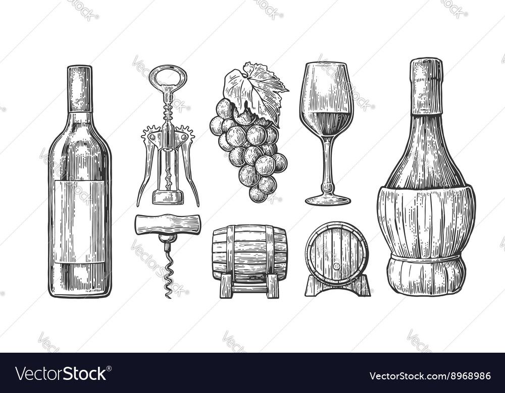 Wine set Bottle glass corkscrew barrel bunch