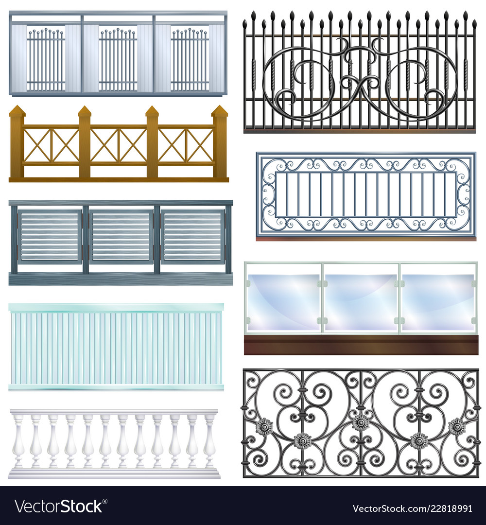 Balcony railing vintage metal steel fence