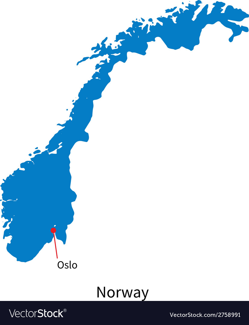 Detailed map of Norway and capital city Oslo Vector Image