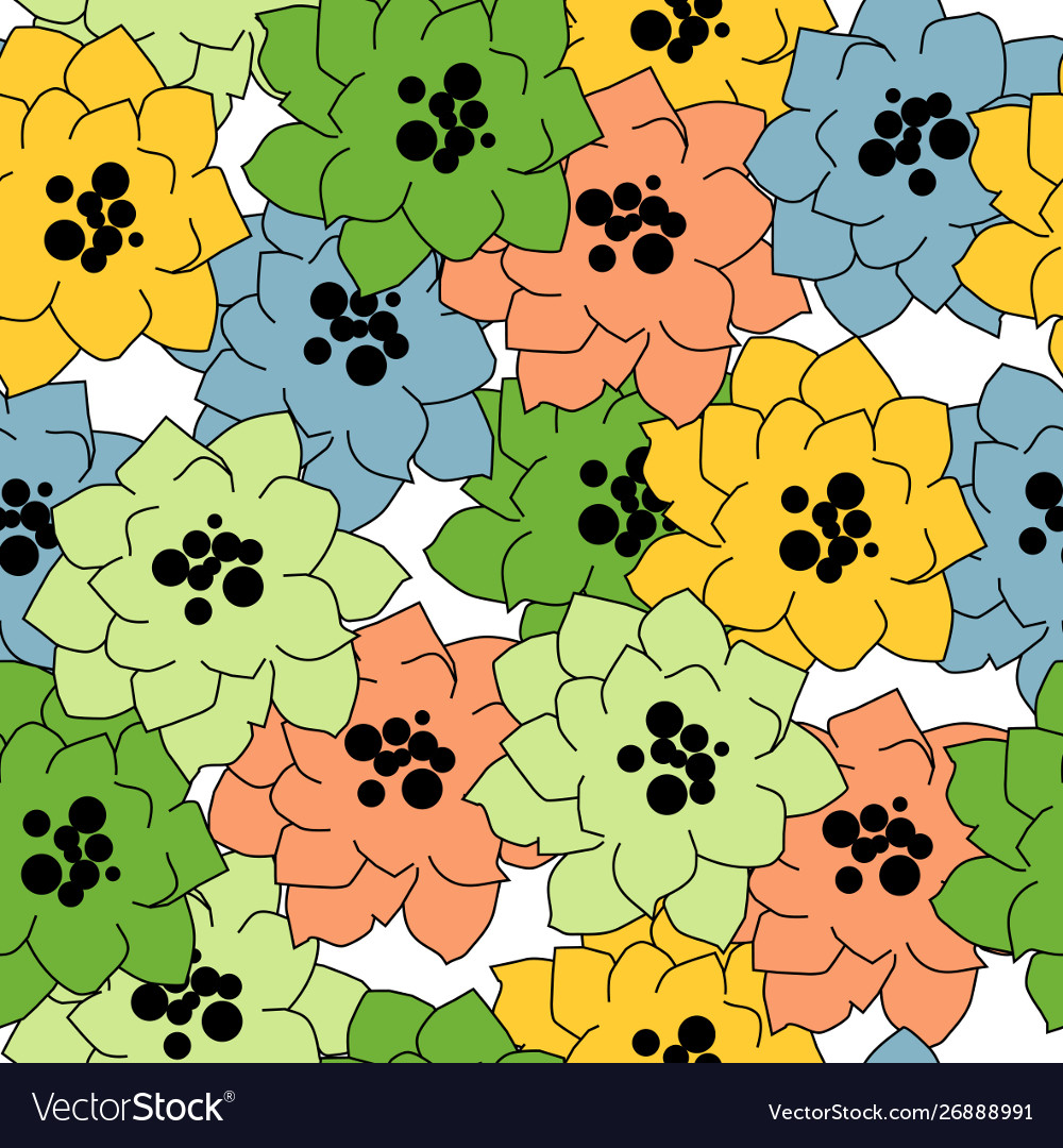 Flower seamless pattern in bright colors over
