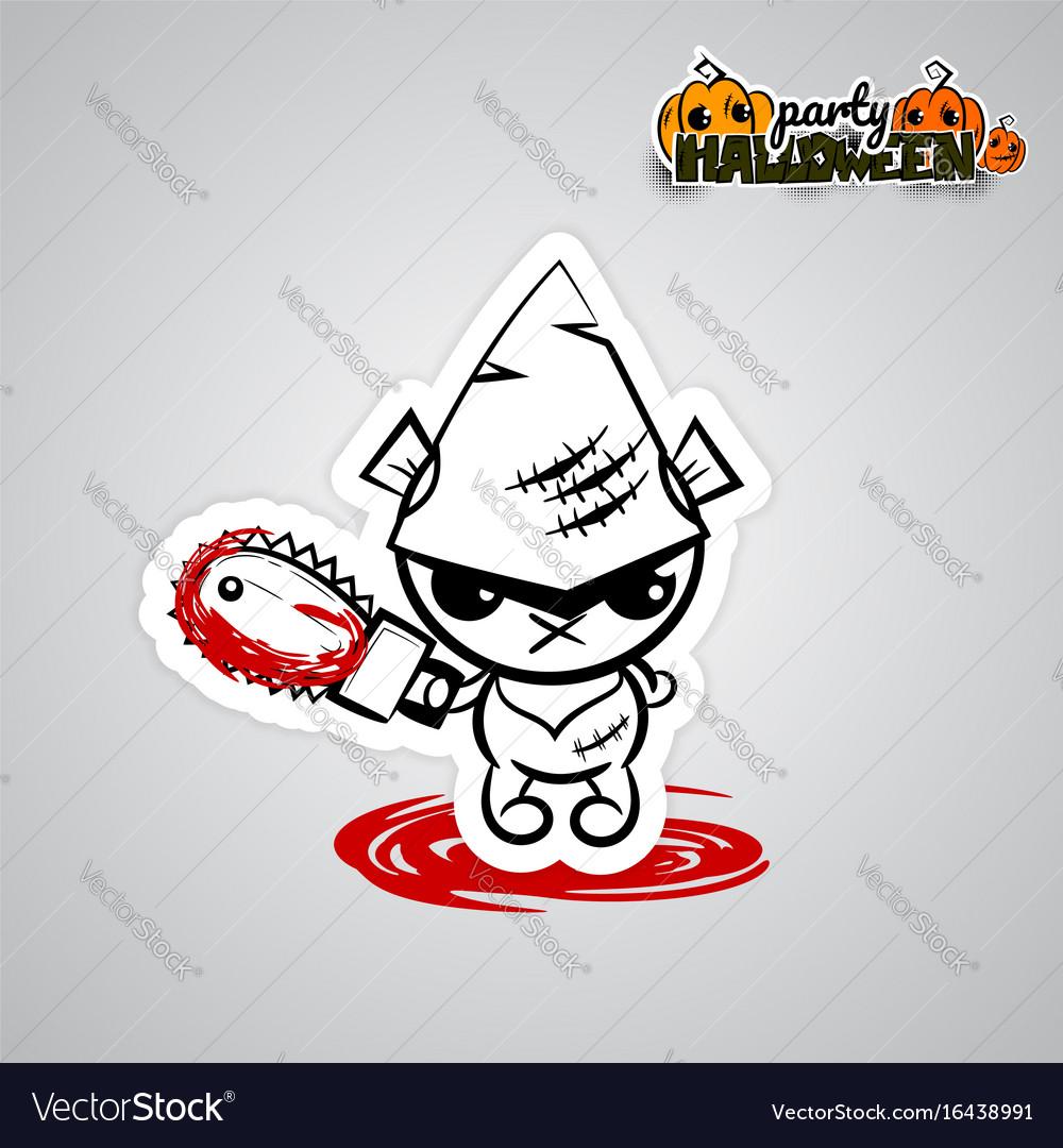 Halloween evil bearvoodoo doll pop art comic