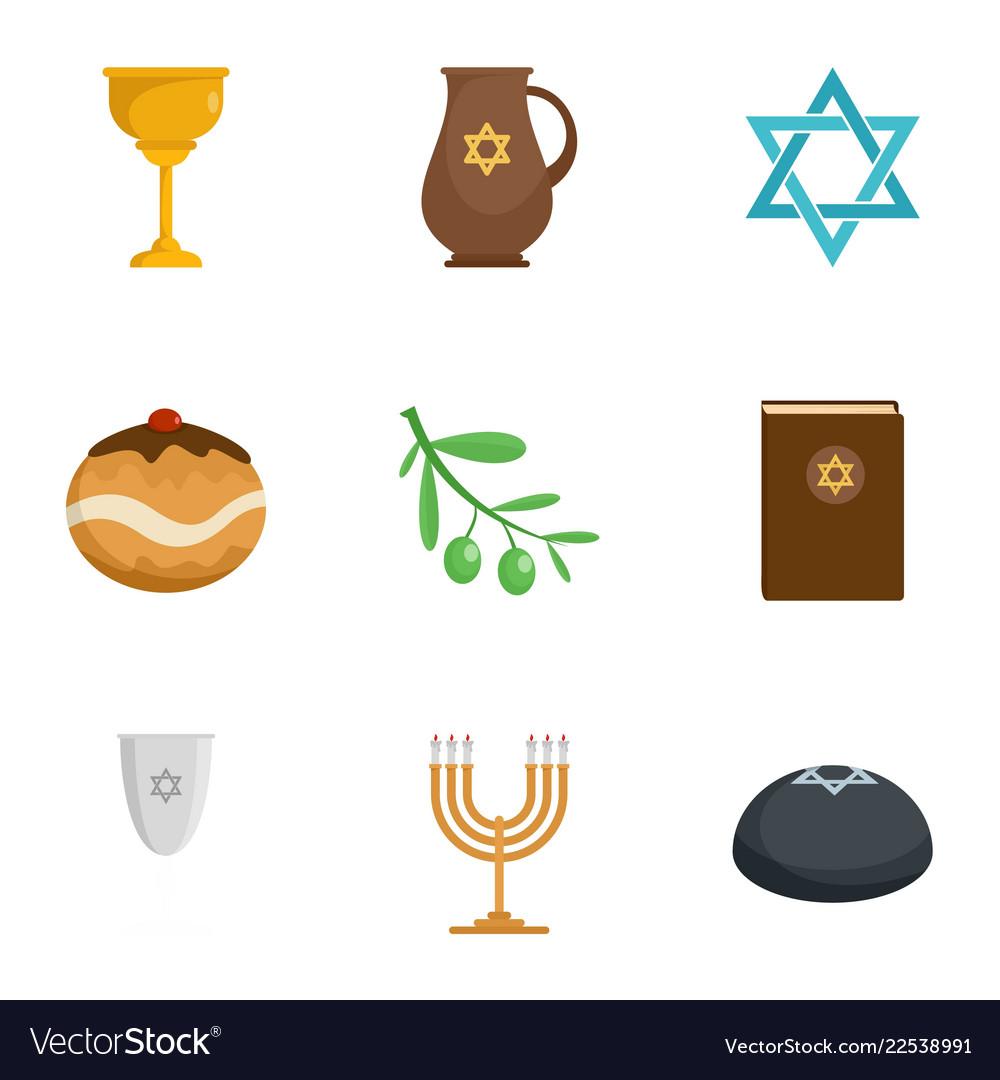 Judaism religion icon set flat style