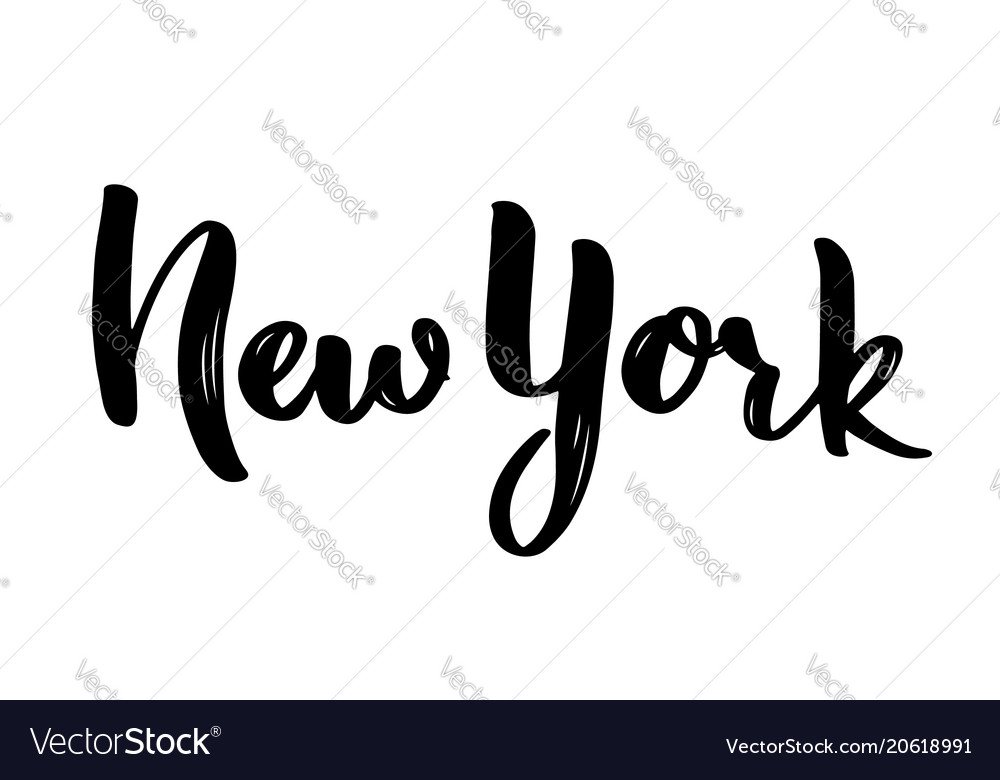 New york hand-lettering calligraphy hand drawn