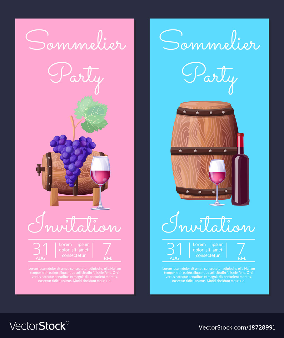 Sommelier party invitation on