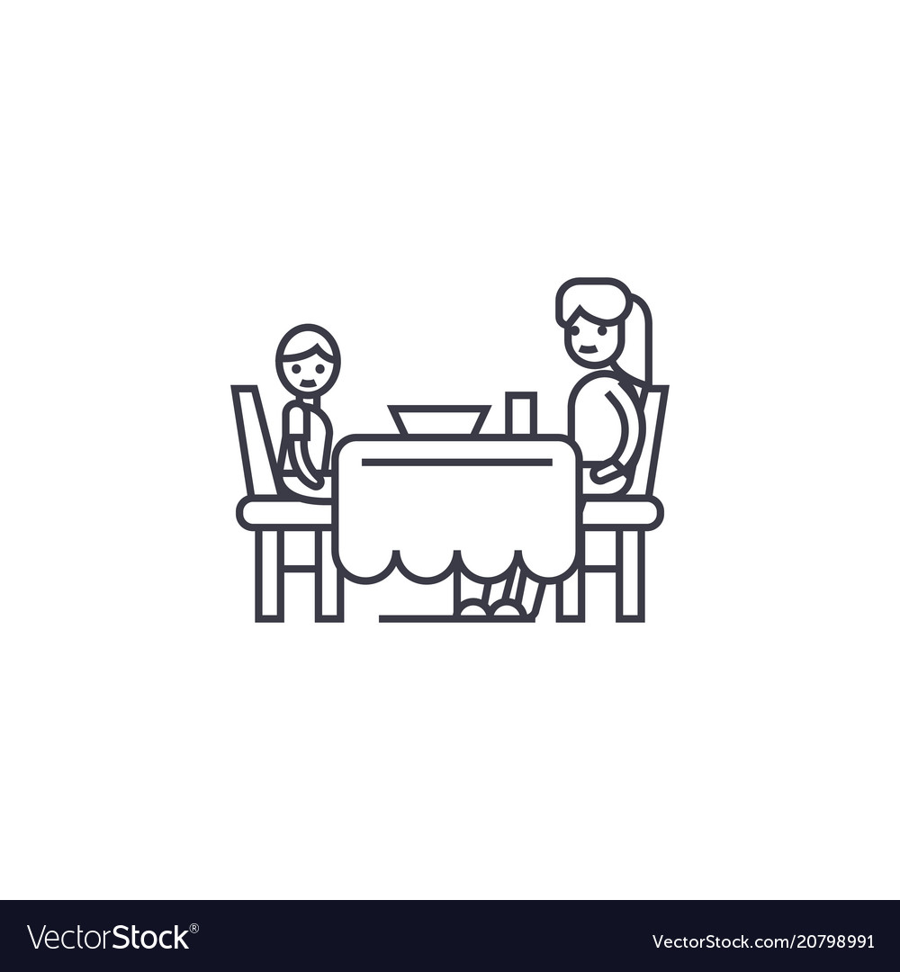 Son and mom having dinner line icon sign vector image
