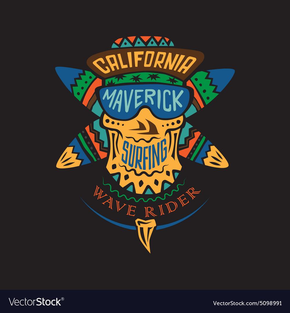 Surfing skull maverick color