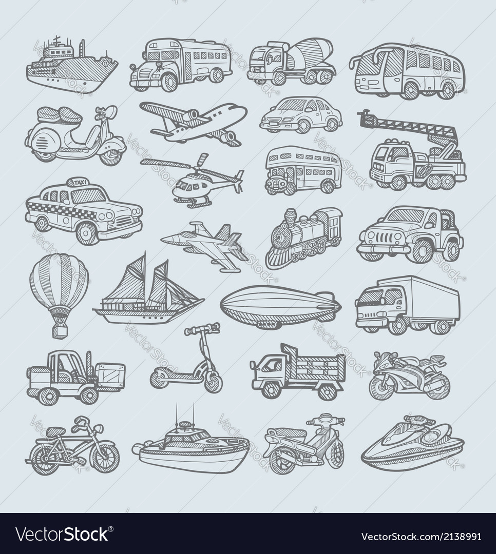 Transportation Icons Sketch Royalty Free Vector Image